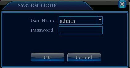 Login window of DVR