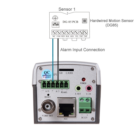 How to connect sensor to IP camera's alarm I/O? Og Input Wiring Diagram on