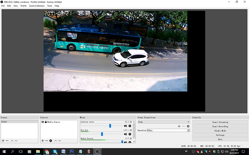IP Camera Live Streaming RTSP to RTMP
