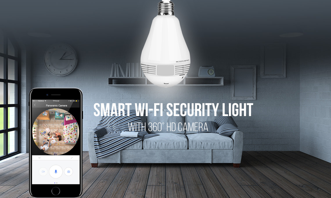 Smart light bulb with 360 degree panoramic camera