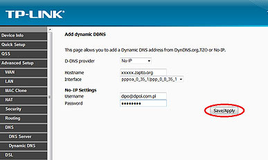 Configure DDNS on TP-link router