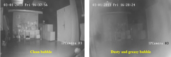 IR dome camera: foggy/IR reflection/IR halo problem
