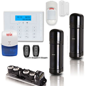 Quad Beam Wired Wireless Perimeter Alarm System
